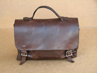 Antique Vintage Doctor Apothecary Veterinary Medical Leather Bag with Old Tools