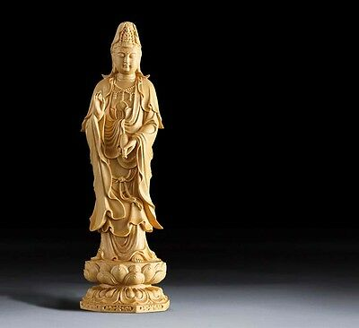 Fine China Boxwood handwork carving little monk read book figure statue