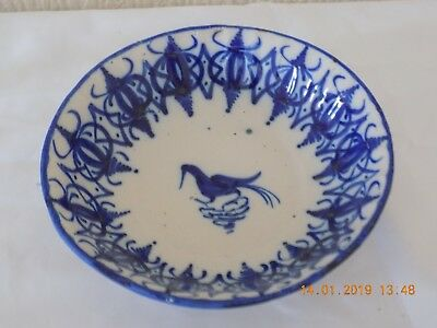 "19th CENTURY BLUE AND WHITE TIN GLAZED SHALLOW BOWL HAND DECORATED ""FRENCH"" ??"