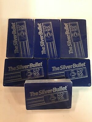6-Decks Vintage Coors Light The Silver Bullet Playing Cards Factory Sealed NEW!!