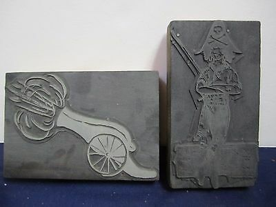 Vtg Antique Lot Of 2 Printer Blocks Pirate & Cannon Metal Mounted On Wood Lot E