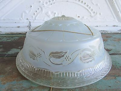 vintage frosted blue Glass Light Fixture Lamp shade Floral 3 hole chain #1