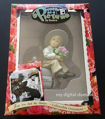 1997 Vintage Kim Anderson ENESCO Pretty as a Picture ORNAMENT Boy on Luggage-NEW