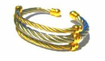 Magnetic Cuff Bracelet 3 row Silver Rope Magnetic Gold Tone Balls Arthritis