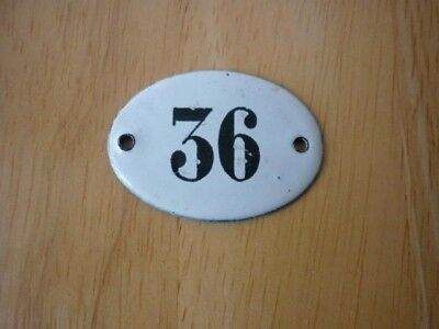Antique / Vintage Salvaged Small Oval Enamel House Door Number 36