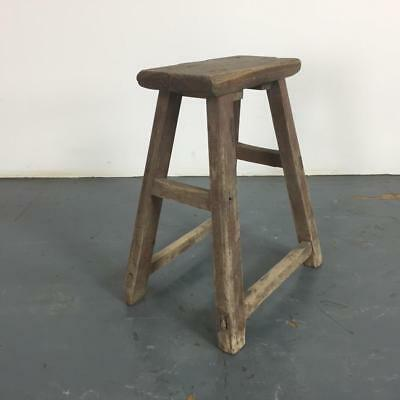 VINTAGE RUSTIC ANTIQUE WOODEN STOOL MILKING EXTRA LARGE No L230