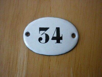 Antique / Vintage Salvaged Small Oval Enamel House Door Number 34