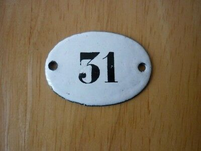 Antique / Vintage Salvaged Small Oval Enamel House Door Number 31