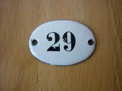 Antique / Vintage Salvaged Small Oval Enamel House Door Number 29