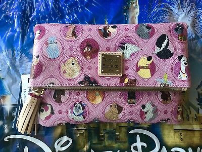 Disney Dooney & Bourke Dogs Fold Over Crossbody Bag Pink New In Hand Actual E