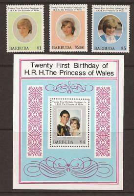 BARBUDA 1982 SG624/626 + MS627 21st Birthday of Princess of Wales MNH (JB1884)