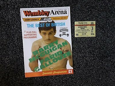 Barry Mcguigan Vs Farid Gallouze Programme With Ticket. Frank Bruno