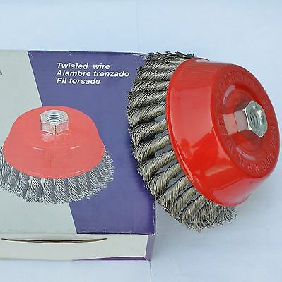 "2 Pro 3"" Knot Cup Wire Twist Brush with 5/8""-11 Thread for Angle Grinder"