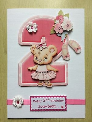 Luxury Hand-Made Little Girl's 2nd Birthday Card -Can be Personalised