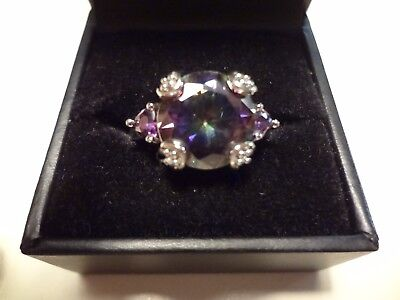 #470-Vintage Sterling Silver Ring-925-Size-8-1/4- Very Nice 3 Stones-Estate Ster
