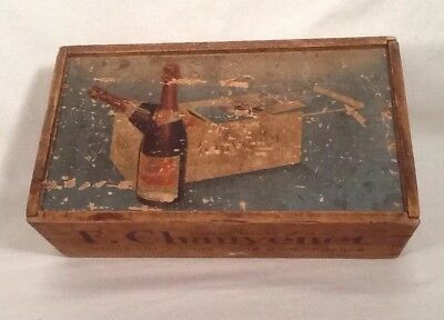 Vintage FRENCH F. Chauvenet Red Cap Wood WINE BOX CRATE Advertising