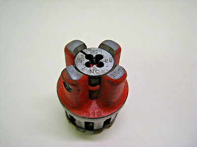 "Ridgid 1/4"" - 20 NC 00-RB Bolt Threading Die Head Complete Used Free Shipping"
