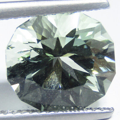 3.91Cts Outstanding Natural Green Amethyst (Prasiolite) Custom Cut Brazil Gem
