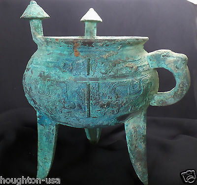 "Ancient Chinese Bronze Tripod Wine Vessel ""Jia"" Offering Bowl w/Translation!"