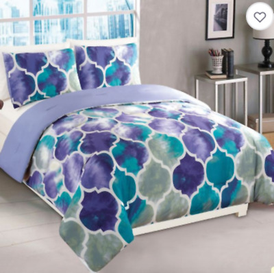 Emmi 3-Piece Full Comforter Set in Purple Teal Pattern Super Plush and Soft Girl