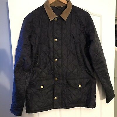 Barbour Mens Black Quilted Tattersall Jacket Coat Medium M Genuine