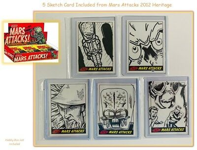 Topps (2012) Heritage Mars Attacks: 5 Sketch Cards