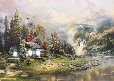 Cabin LED Light Up Lighted Canvas Painting Picture Wall Art Office Home Decor