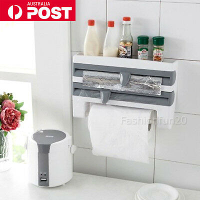 Kitchen Cling Film Dispenser Sauce Bottle Storage Spice Rack Paper Towels Holder