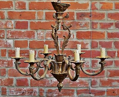 Antique Gilt Metal Rococo 6 Branch Arm Branch Chandelier French Ceiling Light