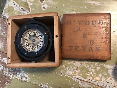 Vintage Compass E.M. Sherman Seattle Trade mark Dirigo in Wooden Box Texas