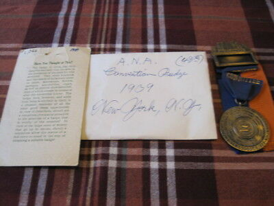 Vintage 1939 ANA Convention Committee Name Badge w/ City Detail New York City