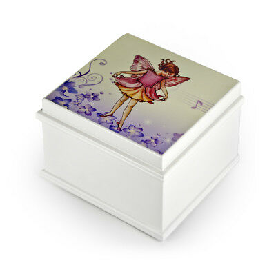 Matte White Enchanted Fairy 18 Note Ballerina Musical Jewelry Box