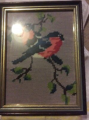 bullfinch bird framed cross stitch picture