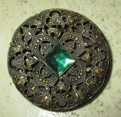 X Lg Antique Vintage Brown Bakelite & Metal W Green Jewel Button - 1 3/4""