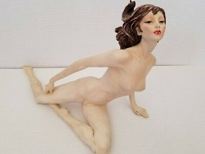 Vintage Santini nude  stone statue.  Rare hand painted version Beautiful design