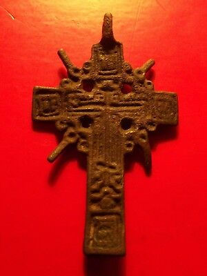 BIG Antique SUN CROWN 17th Russia Orthodox CROSS CRUCIFIX Pendant 5.59 g Moscow