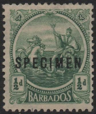 BARBADOS: 1921-1924 Sg 219s  ½d Green Mounted Mint with Spec Ovpt (20618)