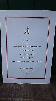 1980 Queen Mother 80th Birthday Order of Service from St Paul's Cathedral