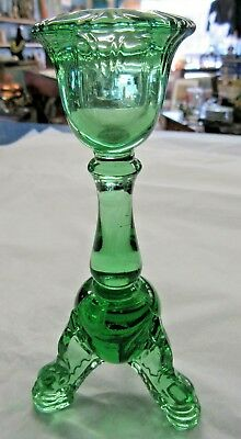 Antique Rare Candle Stick Holder Green Clear Glass 3 Footed