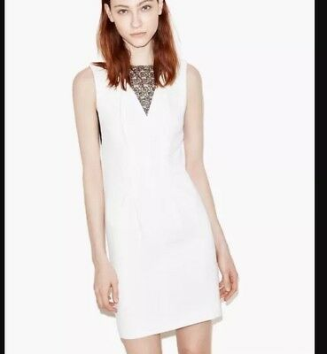 43a7e900f55 The Kooples Lace Panel Shift Dress In White Size XXS Sleeveless Cocktail