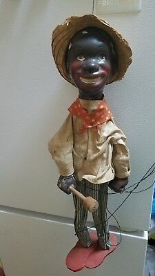Marionete Doll Black African American  Man toy theater vintage rare