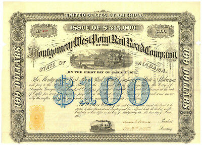 Montgomery and West Point Rail Road Company. $100 Bond Certificate. Alabama