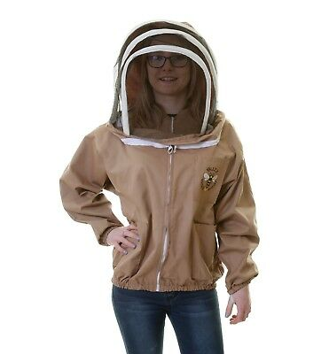 Buzz Work Wear Beekeeping Cappuccino Zip-Up Fencing Veil Jacket- size Medium