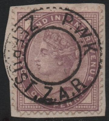 GB: 1881 1d Lilac Example with Zeerust South Africa Postmark - On Piece (21277)