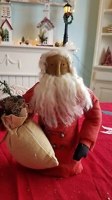Primitive Santa with Bag and Candy Cane