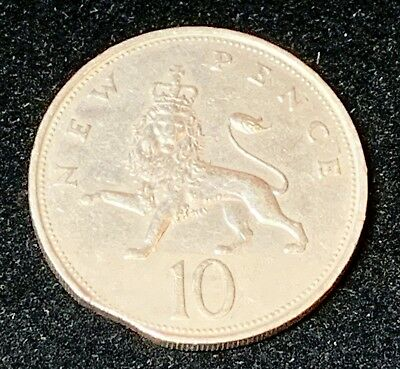 Clipped 1968 British 10 Pence- Mint Error - Authentic Clipped Coin - Error Coin