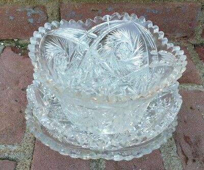 Antique American Brilliant Period ABP Cut Glass Dish Tray Bowl Saw-Tooth NICE!!!