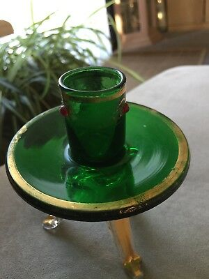 green glass candlestick holder
