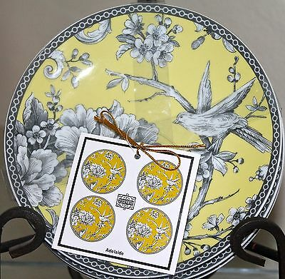 222 Fifth Adelaide Yellow Set Of 4 Dessert Appetizer Plates New Floral