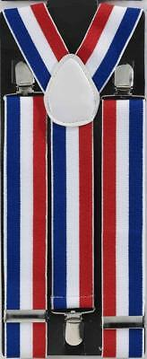 Patriotic Red, White, And Blue Adult Costume Suspenders One Size Fits Most
